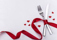 Vork en mes voor de achtergrond van de huwelijksviering Stock Afbeeldingen