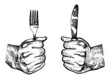 Vork en messen in hand vector Bestek handtekening Schetsillustratie Stock Afbeeldingen