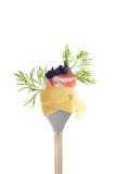Vork met snack: deegwaren tagliatelle royalty-vrije stock afbeeldingen