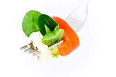 Vork met Verse Salade Royalty-vrije Stock Foto's