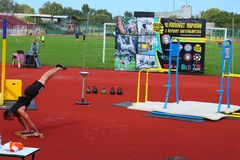 Vorkaut ημέρα Boryspil Αθλητικές περιστροφικές πύλες αθλητικό ύδωρ σκι απεικόνισης εξοπλισμού χρωματισμού Στοκ εικόνα με δικαίωμα ελεύθερης χρήσης