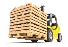 Vorkheftruck met rode appelen in houten kratten Stock Fotografie