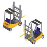 Vorkheftruckvervoer Isometrisch Vervoer De ladingsindustrie Royalty-vrije Stock Afbeelding