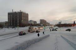Vorkuta在冬天 库存图片