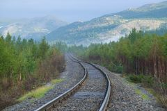 Vorkuta-Labytnangi kolejowa sekcja, pogodny Sierpniowy ranek Biegunowy Ural, Rosja obrazy royalty free
