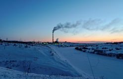 Vorkuta in winter. Central heat and electricity Stock Photos