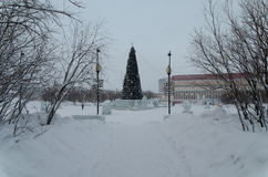 Vorkuta in winter. North of Russian Federation Stock Images