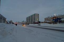 Vorkuta in winter. North of Russian Federation Stock Image