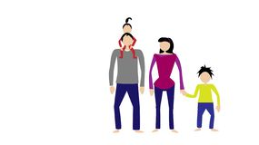 Black haired family on a white background vector illustration