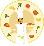 Vorlagenchef, der mit köstlicher Nahrung begrüßt Stockfotografie