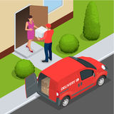 Vorleistung, schnelle Lieferung, Hauslieferung, kostenloser Versand, 24 Stundenlieferung, Lieferungs-Konzept, Kurierdienst Lizenzfreie Stockbilder