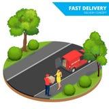 Vorleistung, schnelle Lieferung, Hauslieferung, kostenloser Versand, 24 Stundenlieferung, Lieferungs-Konzept, Kurierdienst Stockfoto