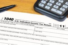 Vorm 1040 de Belastingaangifte van het Inkomen van de V.S. voor 2011 Stock Foto's