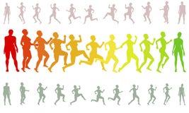 Vorm de lopende het verliezen silhouetten van de gewichtsvrouw Stock Foto