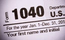 Vorm 1040 het close-up van de de belastingsvorm van Verenigde Staten Royalty-vrije Stock Afbeelding