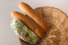 Vorm op brood in de mand Het beste vóór datum is lang geleden met dit beschimmelde voedsel verlopen Geïsoleerde achtergrond stock afbeelding