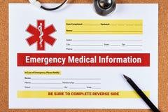 Vorm van de noodsituatie de medische informatie stock afbeeldingen