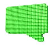 Vorm van de Pixelated de groene bel op wit Royalty-vrije Stock Foto's