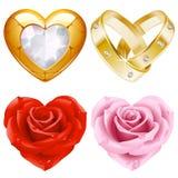 Vorm van hartreeks 4. Gouden juwelen en rozen Stock Afbeelding