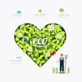 Vorm van het ecologie de infographic groene hart met landbouwer Stock Foto's