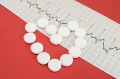 Vorm van het menselijke die hart, uit witte pillen wordt de samengesteld ligt op elektrocardiogram op homogene rode achtergrond H royalty-vrije stock afbeelding