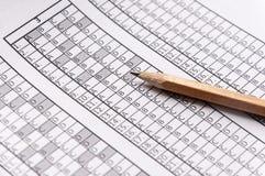 Vorm voor het examen met het potlood die op het liggen testing Selectieve nadruk Royalty-vrije Stock Foto
