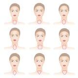 Vormen van vrouwengezicht met lijnen stock illustratie