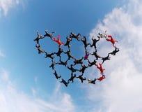 Vorming van de Skydivings de grote groep Royalty-vrije Stock Fotografie