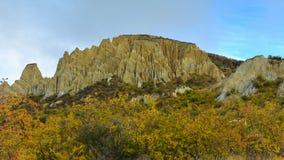 Vormingen van de de toppenrots van Clay Cliff de lange in Omarama royalty-vrije stock foto
