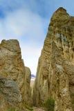 Vormingen van de de toppenrots van Clay Cliff de lange in Omarama stock fotografie