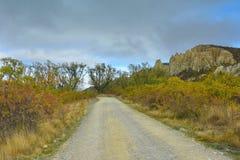 Vormingen van de de toppenrots van Clay Cliff de lange in Omarama stock afbeeldingen