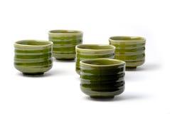 Vormt Chinese thee vijf 3 tot een kom stock afbeeldingen