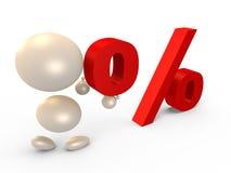 Vormt het percententeken, linkermening - 3D beeld Royalty-vrije Stock Fotografie