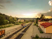 Vorohta, Bahnstation Lizenzfreies Stockfoto
