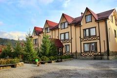 Tourist base with a beautiful landscape and garden. Modern touristic house. Vorokhta town Ivano-Frankivsk region / Ukraine - 22 October 2017 / Ukraine: Tourist Royalty Free Stock Images