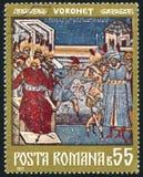 Voronet frescoe. ROMANIA - CIRCA 1971: stamp printed by Romania, shows Voronet frescoe, circa 1971 Royalty Free Stock Image