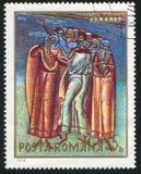 Voronet frescoe. ROMANIA - CIRCA 1970: stamp printed by Romania, shows Voronet frescoe, circa 1970 Stock Image