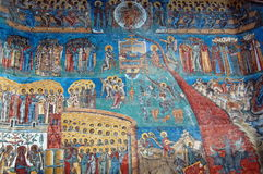 Voronet Monastery. Painted religious detail of Voronet Monastery, Romania Stock Photo