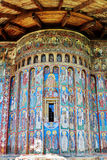 Voronet Monastery, Romania. Ancient mural painted fresco facade at Voronet Monastery, Romania Stock Images