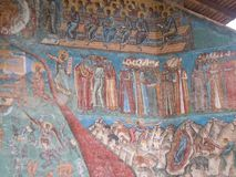 Voronet Monastery, Bucovina County, Romania, Judgement Day scene painting royalty free stock images