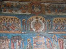 Voronet Monastery, Bucovina County, Romania, Judgement Day scene painting stock image