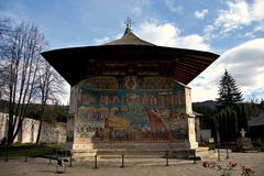 Voronet Monastery Bucovina. Voronet Monastery in Bucovina county Romania. The unique color is Voronet Blue Royalty Free Stock Images