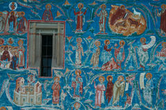 Voronet Monastery fresco detail. Detail of the frescoes at Voronet Painted Monastery in Moldova Romania Stock Image