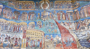 Voronet Monastery. The Last Judgment painted wall, Romania Royalty Free Stock Image