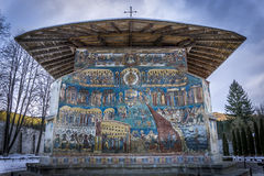 Voronet Monastery. The Voronet Monastery - one of the famous painted monasteries in Romania. The painting: 'Last Judgement Royalty Free Stock Photo