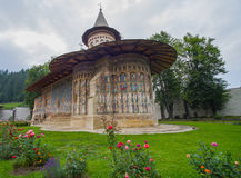 Voronet Monastery painted church in Moldavia Royalty Free Stock Images