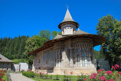 The Voronet Monastery, Romania. An outside view of the Voronet Church. It is one of the famous painted monasteries from southern Bucovina, in Suceava County Royalty Free Stock Image