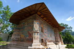 Voronet Monastery in summer. View of Voronet Monastery, Suceava county, Romania Stock Photography