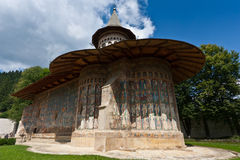 Voronet Monastery in summer. View of Voronet Monastery, Suceava county, Romania Royalty Free Stock Images
