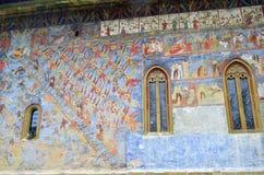 Voronet monastery - Wall Painting. Image of Voronet monastery wall, with it's famous Voronet Blue Royalty Free Stock Photo